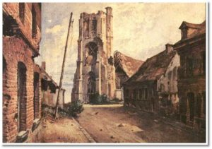 La chiesa gotica di Becelaere, sul fronte belga, danneggiata dai bombardamenti (1917)