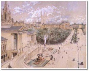 Acquerello raffigurante il Palazzo del Parlamento e la Ringstrasse di Vienna