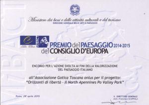 Encomio - Premio del Paesaggio del Consiglio di Europa 2014-2015