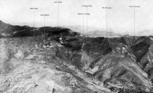 L'area del Passo del Giogo in una foto area del 1944