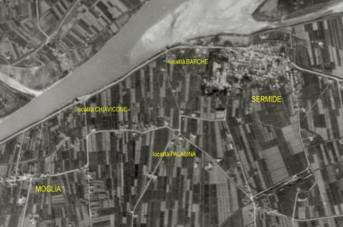 """La località """"Palasina"""" in una foto aerea scattata il 22 Aprile 1945 da un ricognitore aerofotografico alleato"""