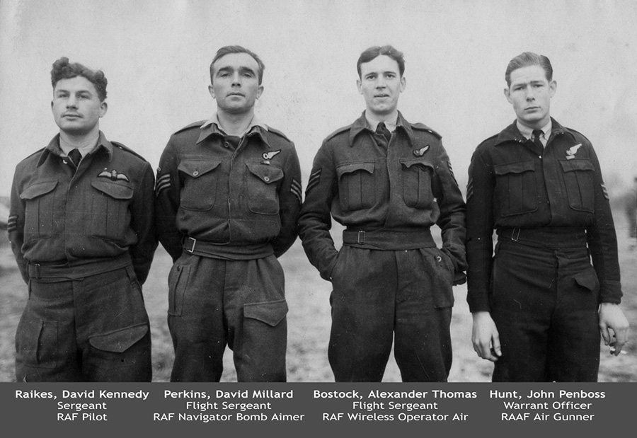 Three of the flyers were British - the pilot, Sergeant David Raikes, the navigator, Flight Sergeant David Perkins, and the wireless operator and gunner, Flight Sergeant Alexander Bostock. They were all aged 20. The crew's other gunner was an Australian - Warrant Officer John Hunt, of the Royal Australian Air Force - who was a year older.