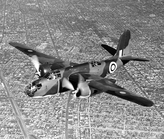 A new Douglas A-20 Boston bomber, built in USA for the Royal Air Force, has a trial flight over Southern California before delivery to Great Britain