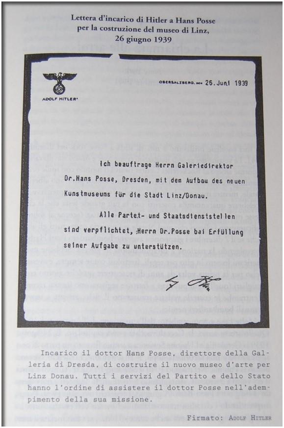 [13b] - Lettera di incarico di Hitler ad Hans Posse per la costruzione del museo di Linz/Donau - 26 giugno 1939